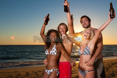 people having party at beach with