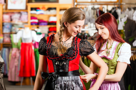 woman is trying tracht or dirndl