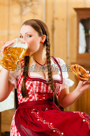 young woman in traditional bavarian tracht