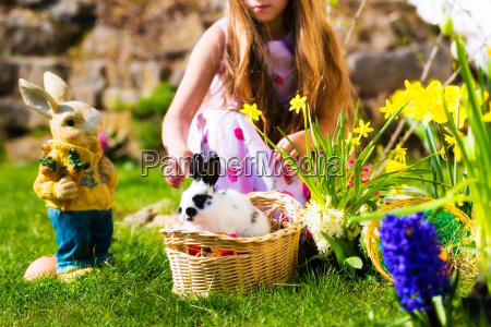 easter bunny on meadow with basket