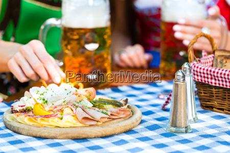beer garden friends with beer