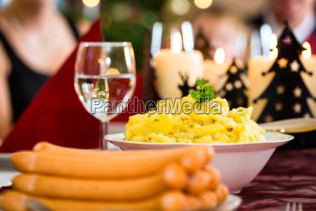 german christmas dinner sausages and potato