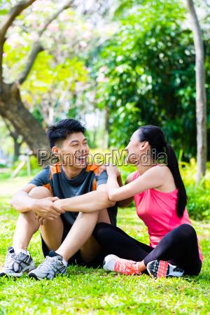 asian couple having break at during