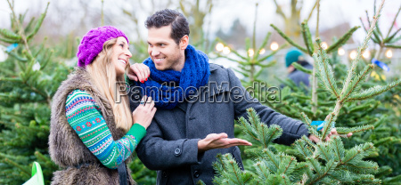 woman and man buying christmas tree