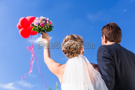 bride and groom at wedding with