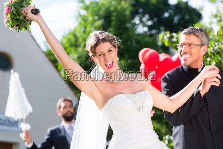 bride running away with priest after