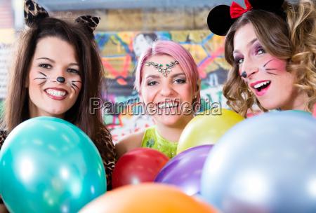 young german women at fasching carnival