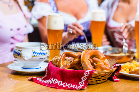 women eating lunch in bavarian restaurant