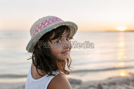 spain menorca portrait of girl on