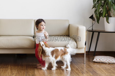 toddler girl playing with dog in