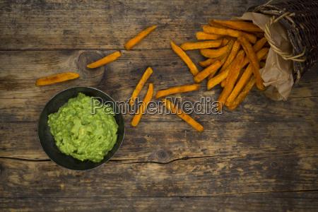 sweet potato fries and avocado dip