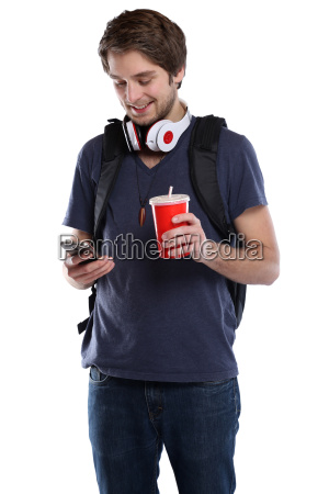 student with mobile phone smartphone cola