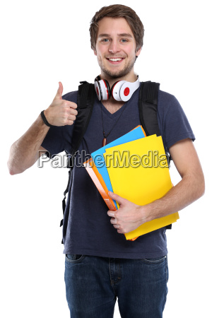 student thumbs up young man laughing