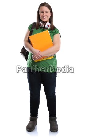 young student laughing full body woman