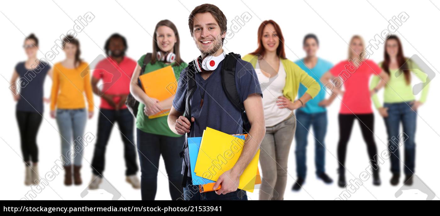 studenten, gruppe, junge, jung, lachen, glücklich - 21533941