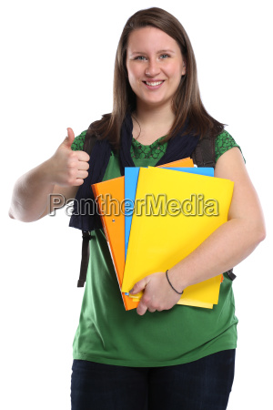 student thumbs up young young woman