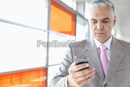 middle aged businessman using smart phone