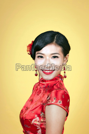 beautiful young asian woman dress traditional