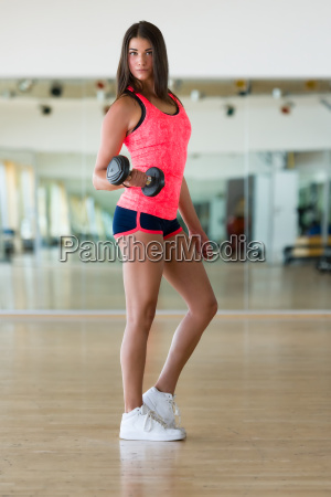 beautiful and sporty woman doing exercises