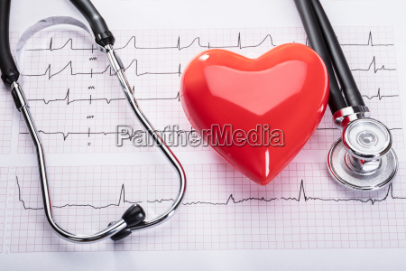 cardiogram with heart and stethoscope