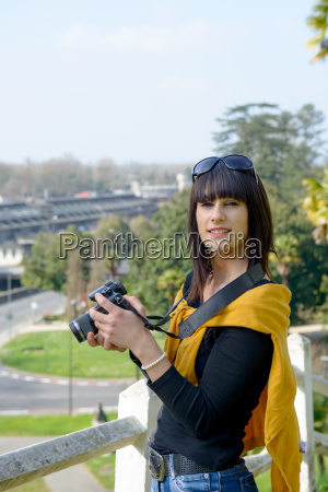 young and attractive woman taking a