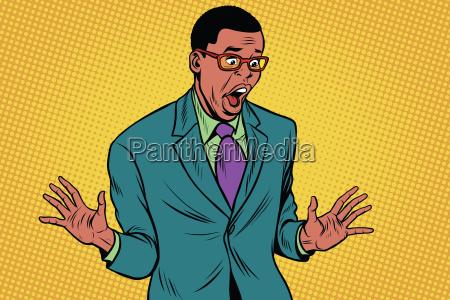 shocked african american businessman