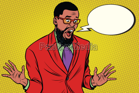 shocked hipster bearded african american businessman