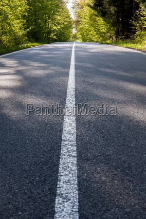 country asphalt road with tree and