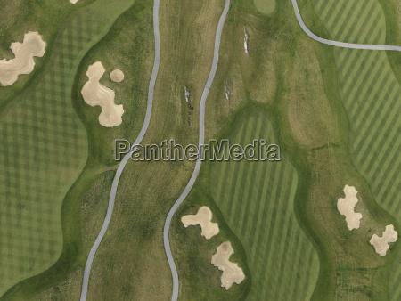 full frame aerial view of golf