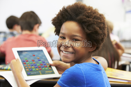 pupil in class playing a game