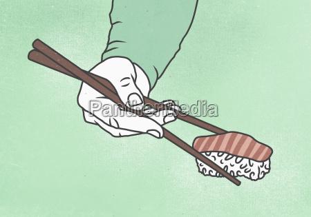 illustration of man hand holding sushi
