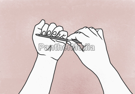 illustration of woman filing her fingernails