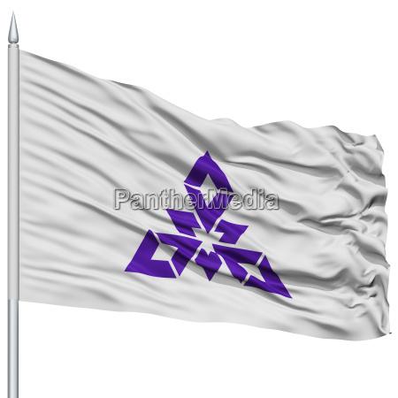 fukuoka capital city flag on flagpole