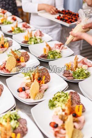 chef ist kochen satz von vorspeisen