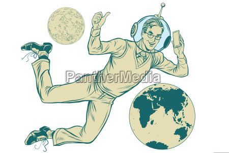 stellar geschaeftsmann astronaut mit telefon isoliert