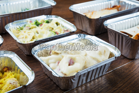 take away dishes in foil containers