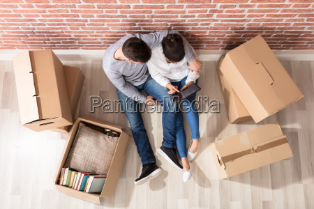 overhead view of couple looking at