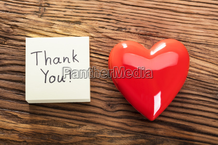 thank you note with heart