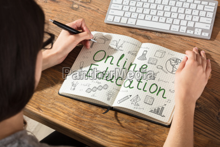 woman making online education chart