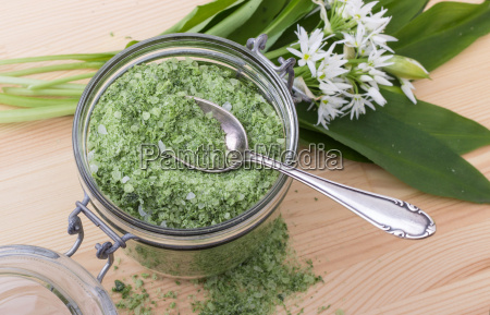 green herbal salt of wild garlic