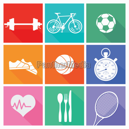 sports and leisure collection isolated