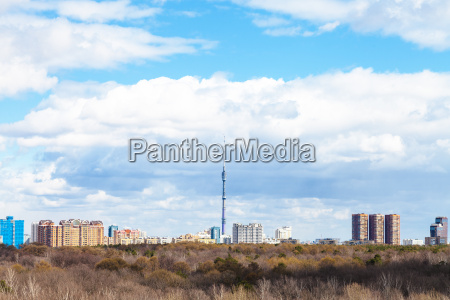 moscow skyline with tv tower and