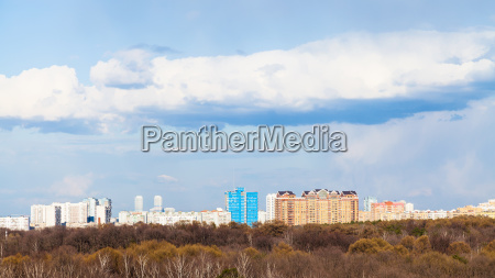 moscow skyline with urban park in