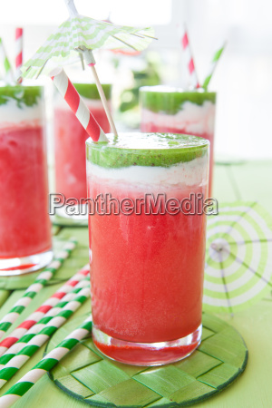 colorful smoothie with watermelon