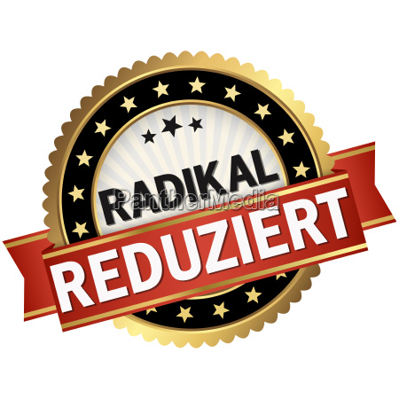 button with red banner radikal reduziert