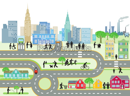 city with people and streets illustration
