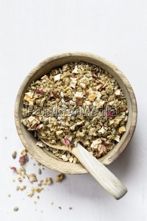muesli ingredients dried apple cubes sunflower