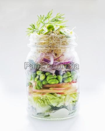 vegetable salad with apple edamame herring