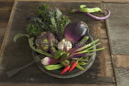 eine schuessel gemuese mit auberginen artischocke