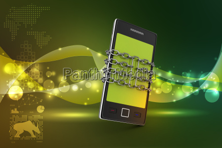 smart phone with chain safety concept